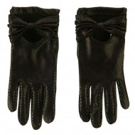Snake Bow Accent Glove - Black