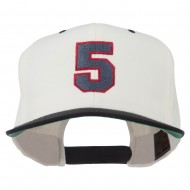 Athletic Number 5 Embroidered Classic Two Tone Cap - Natural Black