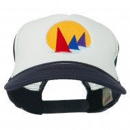 Sailboat Under Sun Embroidered Foam Mesh Back Cap - Royal White