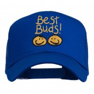 Best Buds Smiley Faces Embroidered Mesh Cap - Royal
