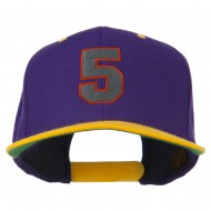 Athletic Number 5 Embroidered Classic Two Tone Cap - Purple Gold