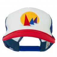 Sailboat Under Sun Embroidered Foam Mesh Back Cap - Red White Royal