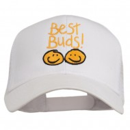 Best Buds Smiley Faces Embroidered Mesh Cap - White