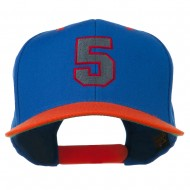 Athletic Number 5 Embroidered Classic Two Tone Cap - Royal Orange