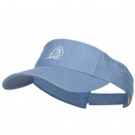 Sailboat with Wave Embroidered Washed Visor - Lt Blue