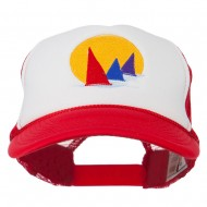 Sailboat Under Sun Embroidered Foam Mesh Back Cap - Red White Red