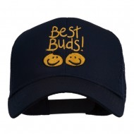 Best Buds Smiley Faces Embroidered Mesh Cap - Navy