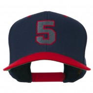 Athletic Number 5 Embroidered Classic Two Tone Cap - Navy Red