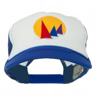 Sailboat Under Sun Embroidered Foam Mesh Back Cap - Navy White