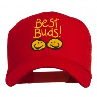 Best Buds Smiley Faces Embroidered Mesh Cap - Red