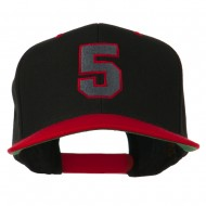 Athletic Number 5 Embroidered Classic Two Tone Cap - Black Red