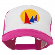 Sailboat Under Sun Embroidered Foam Mesh Back Cap - Hot Pink White