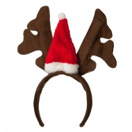 Santa Antlers Cap Headband - Brown Red