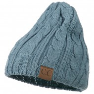 Solid Cable Knit Beanie - Denim