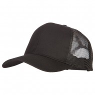 Solid Cotton Prostyle Twill Mesh Cap - Black