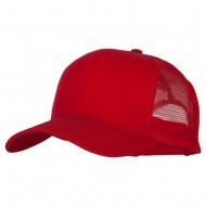 Solid Cotton Prostyle Twill Mesh Cap - Red