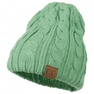 Solid Cable Knit Beanie - Sage