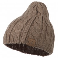 Solid Cable Knit Beanie - Camel