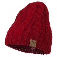 Solid Cable Knit Beanie - Red