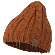 Solid Cable Knit Beanie - Rust