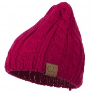 Solid Cable Knit Beanie - Hot Pink