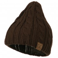 Solid Cable Knit Beanie - Brown