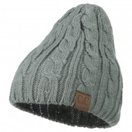 Solid Cable Knit Beanie - Natural Grey