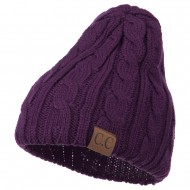 Solid Cable Knit Beanie - Purple