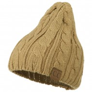 Solid Cable Knit Beanie - Taupe