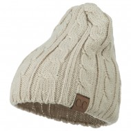 Solid Cable Knit Beanie - Beige