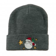Santa Claus with Stars Embroidered Beanie - Grey