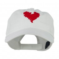 Scribbled Heart Embroidered Cap - White