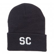 SC South Carolina Embroidered Long Beanie - Black