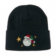 Santa Claus with Stars Embroidered Beanie - Navy