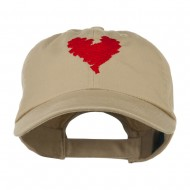 Scribbled Heart Embroidered Cap - Khaki
