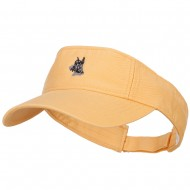 Schnauzer Head Embroidered Pro Style Cotton Washed Visor - Mango