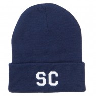 SC South Carolina Embroidered Long Beanie - Navy