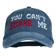 You Can't Scare Me Embroidered Washed Cap - Navy