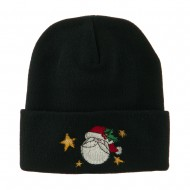 Santa Claus with Stars Embroidered Beanie - Black