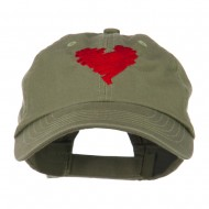 Scribbled Heart Embroidered Cap - Olive