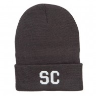 SC South Carolina Embroidered Long Beanie - Dk Grey