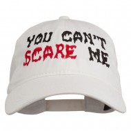 You Can't Scare Me Embroidered Washed Cap - White