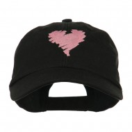 Scribbled Heart Embroidered Cap - Black