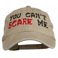 You Can't Scare Me Embroidered Washed Cap - Khaki