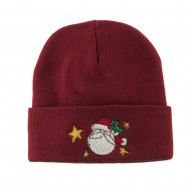 Santa Claus with Stars Embroidered Beanie - Maroon