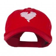 Scribbled Heart Embroidered Cap - Red
