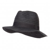 Solid Paper Braid Panama Hat - Black