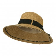 UPF 50+ Striped Brim Ribbon Paper Braid Hat - Tan