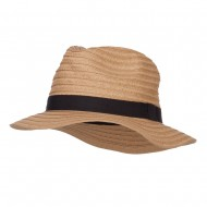 Solid Paper Braid Panama Hat - Tan