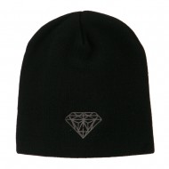 Small Diamond Embroidered Short Beanie - Black